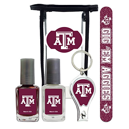 Texas A&M Aggies Manicure Pedicure Set with 7-Inch Nail File, Nail Clippers, 2 Nail Polishes in Team Colors, and Toiletry Bag for the Whole Kit. NCAA Gifts and Gear for Women