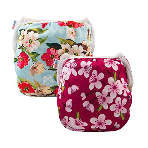 ALVABABY Swim Diapers Large Size 2pcs Reuseable Washable & Adjustable for Swimming Lesson & Baby Shower Gifts (Flowers 02, 0-3 Years) from ALVA