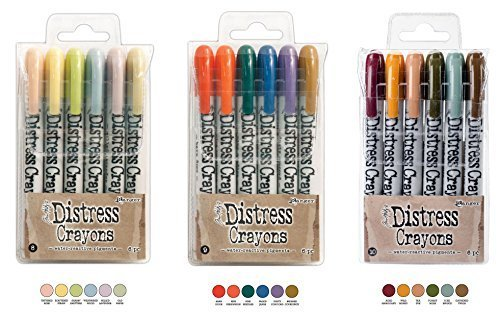 Ranger Tim Holtz 18 Distress Crayons Bundle: Sets 8, 9, 10 ()