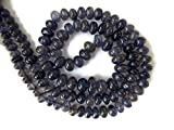 Natural Dark Blue Iolite Smooth Rondelle Beads, 6mm To 8mm Beads, Iolite Jewelry, GDS934 (5x18 Inch, 5x102pcs)
