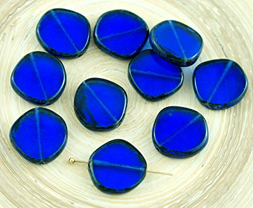 4pcs Picasso Crystal Sapphire Blue Striped Large Flat Round 8Edge Window Table Cut Coin Czech Glass Beads 15mm ()
