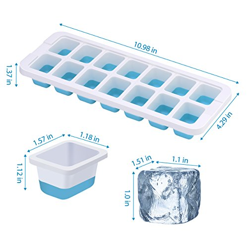 OMorc Ice Cube Trays 4 Pack [Upgraded Version], Easy-Release Silicone and Flexible 14-Ice Trays with Unique Removable Lid, Make Larger Ice Cubes, BPA Free, Stackable Durable and Dishwasher Safe by OMORC (Image #3)
