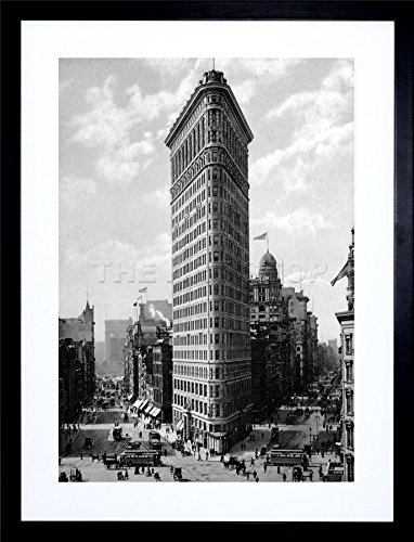 FLAT IRON BUILDING NY 1903 HISTORY OLD BW PHOTO FRAME ART PRINT PICTURE F12X355 ()