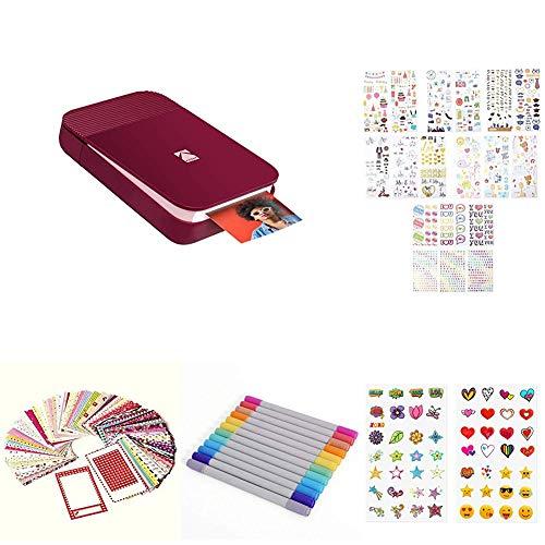 KODAK Smile Instant Digital Printer - Red with 2ʺx3ʺ Premium Zink Photo Paper (20 Sheets), Soft Camera case, Zink Paper Unique Colorful Stickers & Photo Album Accessories