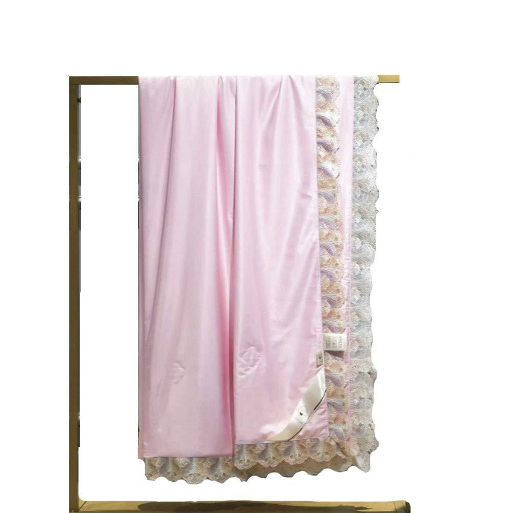 クールな春と夏のキルト、洗えるレースシルクシルクの夏のキルト、通気性防止アレルギー仮眠オフィスファミリーキルトホームギフト (Color : ピンク) B07Q7NKPKV ピンク