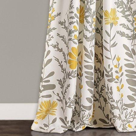 Aprile Room Darkening Window Curtain Yellow/Gray Set, 52'' x 84'' + 2''