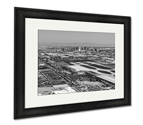 Ashley Framed Prints Downtown Phoenix Arizona Skyline From Above Sky Harbor International Airport, Modern Room Accent Piece, Black/White, 34x40 (frame size), Black Frame, - Harbor Airport Arizona Phoenix Sky