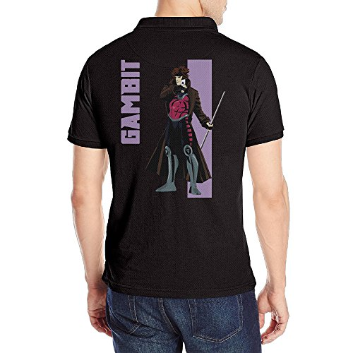 Gambit Original Costume (Men's Gambit Short Sleeve Uniforms Polo Shirt Black)