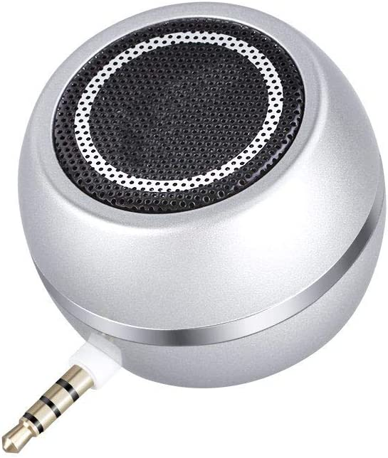 I-VOM Wireless Mini Speaker with 3.5mm Aux Input Jack, 3W Loud Portable Speaker for iPhone iPod iPad Cellphone Tablet Laptop, with USB Rechargeable Battery, Gift Choice for Kids, Silver