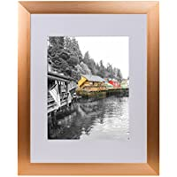 Golden State Art, Rose Gold Color Satin Aluminum Landscape Or Portrait Photo Frame With Ivort Color Mat & Real Glass (16x20)