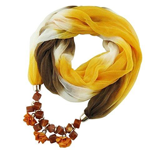 Yellow Del Delle Della Cinghia Sciarpe Donne Pendente Sciarpa Collana Di Signore Modo UPRn8RZ