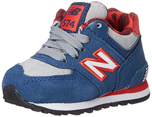 New Balance KL574 Paisley Pack Running Shoe , Blue/Red, 4 M