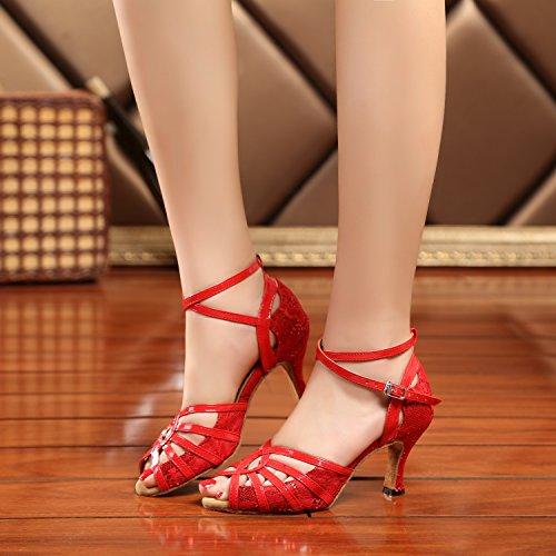 Minishion Gl227 Kvinners Kors Stropp Blonder Latin Tango Ballroom Dans Sko Bryllup Prom Sandaler Røde