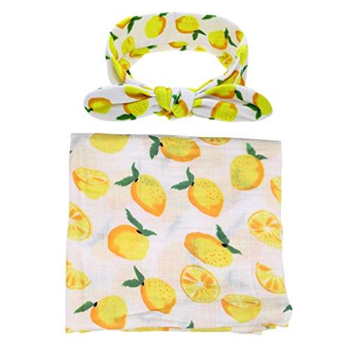 Ufraky Infant Baby Swaddle Wrap Blanket Sleeping Bag Bed Sheet Headband with Cute Pattern (Mango)