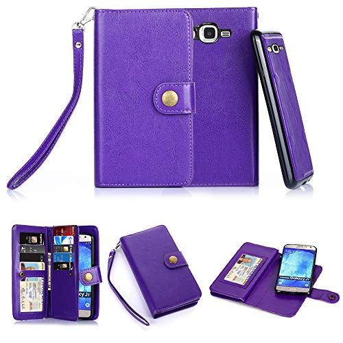 TabPow Galaxy J7 Case, 10 Card Slot - ID Slot, Button Wallet Folio PU Leather Case Cover With Detachable Magnetic Hard Case For Samsung Galaxy J7 J700 (2015) - Purple