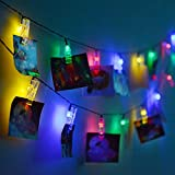 Hulorry Solar String Lights Outdoor,Solar String Lights Photo Clip Lights Waterproof Fairy Lights for Garden, Wedding, Party, Indoor, Outdoor and Christmas Tree,Colorful