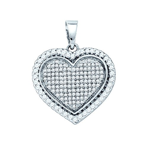 Sterling Silver Womens Round Diamond Heart Love Pendant 3/4 Cttw