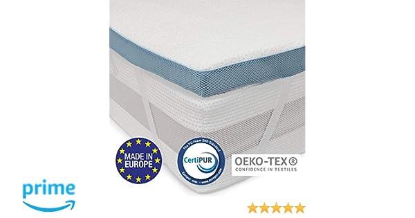 Dreamzie ⭐Topper Viscoelástico 160x190 cm Matrimoniale Topper con Efecto Memoria - Fabricado en Europa y Oeko Tex - Tejido Anti-derrapante 4 Elásticos ...