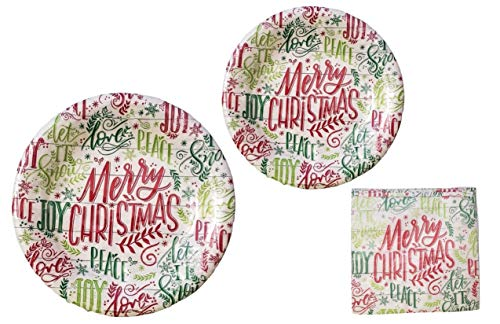 """Merry Christmas"" Holiday Sayings Disposable Paper Plates and Party Napkins Bundle – 3 Items: 20 Dinner Plates, 20 Dessert Plates, 50 Large Napkins"