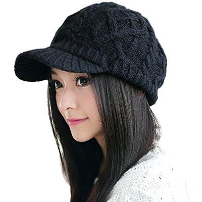 SIGGI 50%/100% Wool Newsboy Cap Winter Hat Visor Beret Cold Weather Knitted