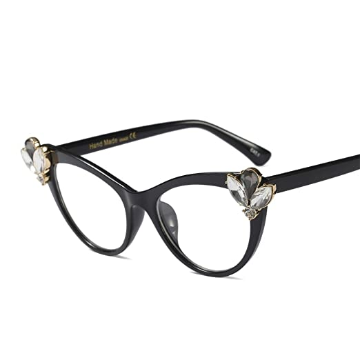 145118d1158 Luxury Rhinestone Cat Eye Glasses Women 2019 Decoration Eyeglasses Frame  Women (black)