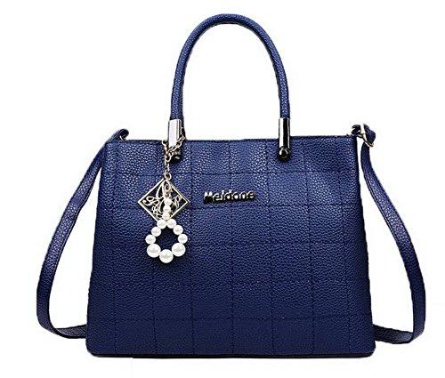 VogueZone009 Mujeres Encantos Moda PU Bolsas de Hombro Casual Bolsas de Mano Azul