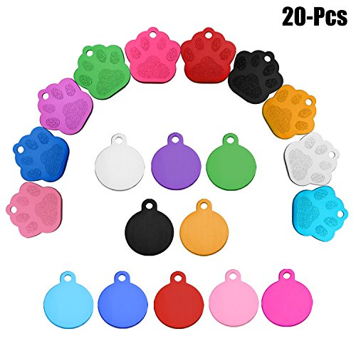 Legendog 20PCS Pet Tag Dog Tags Creative No Engraving DIY Pet ID Tag Pet Personalized Tag for Dogs Cats