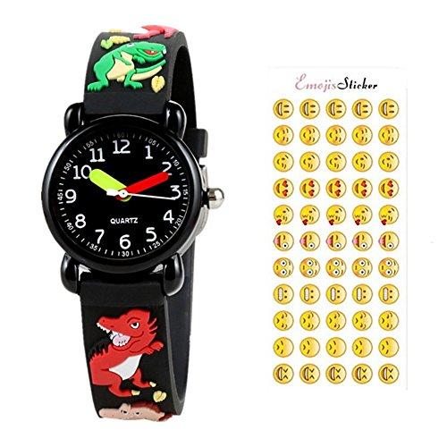 - SEALEN Kids Waterproof Watch, 3D Lovely Cartoon Digital Silicone Wristwatch, Time Teacher Gift for GirlsBoys Kids Children Toddler (Dragon Black)