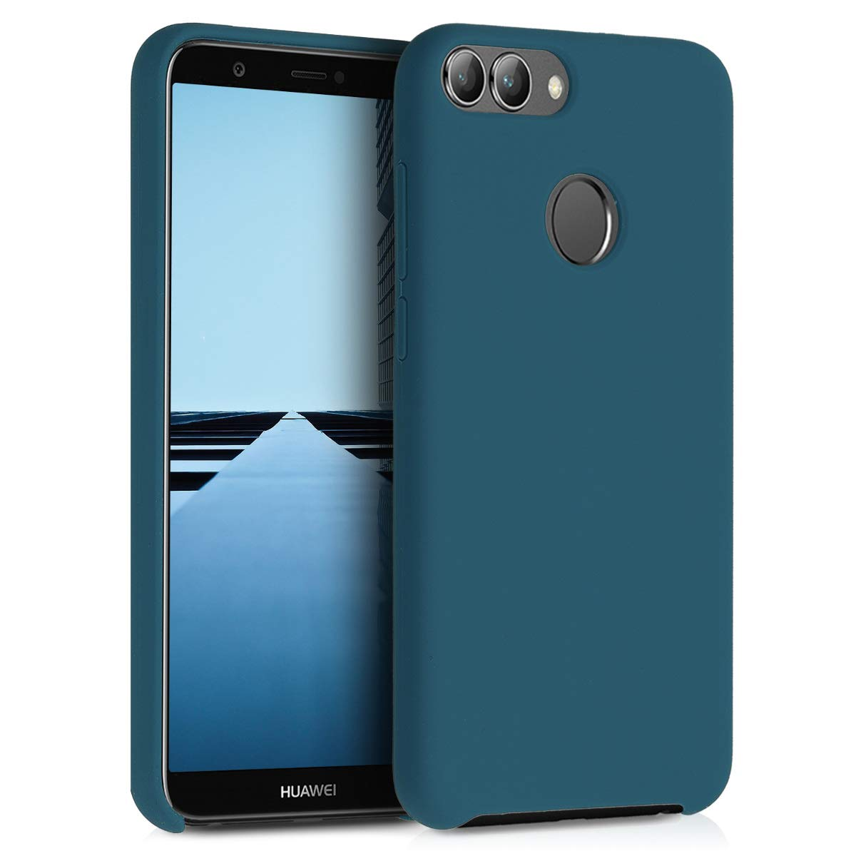 kwmobile TPU Silicone Case for Huawei Enjoy 7S / P Smart - Soft Flexible Rubber Protective Cover - Teal Matte