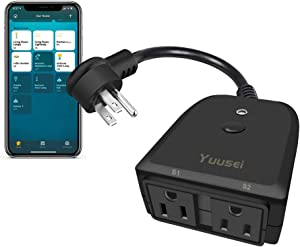 Yuusei Outdoor Smart Plug, Home Wifi Outlet with 2 Individual Sockets, Compatible with Alexa and Google Home, Wireless Remote Control by APP, Timer & Countdown, FCC and ETL Listed