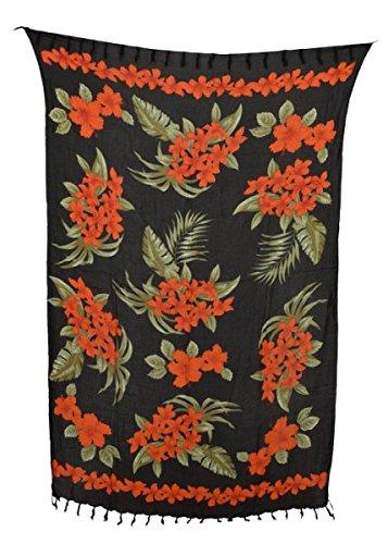 Sarong rote Blumen, Stampbatik, Pareo, Hüfttuch, Wickelrock, Strandtuch 160 x 115 cm