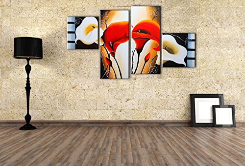 fly-spray-4-piece-100-hand-painted-oil-paintings-panels-stretched-framed-ready-hang-flora-plant-flow