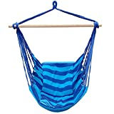 Yaheetech Outdoor Cotton & Polyester Striped Hanging Rope Hammock Swing Seat Chair Porch Camping w/2 Cushions