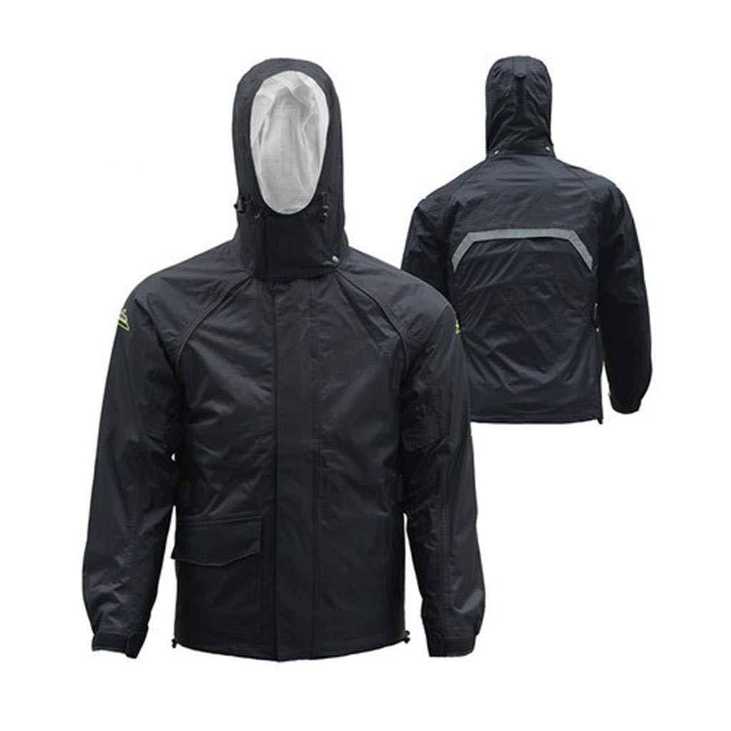 JTWJ レインコートスーツ防風防水反射レインコート、キャンプ旅行登山に適しています(蛍光グリーン/ブラック) (色 : ブラック, サイズ さいず : M) Medium ブラック B07Q7VWGVY