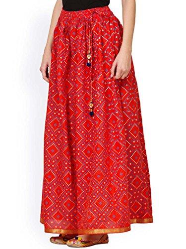 Saadgi Red Block Print Gotta Patti Maxi Skirt