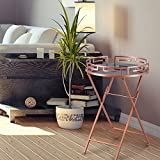 DecentHome Round Elegant Luxury Modern Accent Metal Coffee Side End Nesting Table Rose Gold