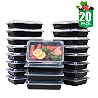 Samrog 20-Pack Single Compartment Bento Lunch Boxes with Lids – Reusable, Stackable, Microwave, Dishwasher & Freezer Safe, BPA Free - Meal Prep, Food Storage Containers (28oz)