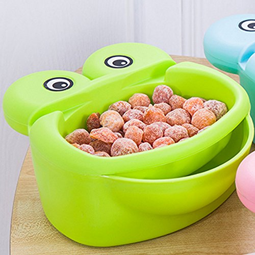 Hipat Nut Bowl with Cell Phone Holder Slot,Plastic Cute Green Cartoon Frog Snack Serving Tray with Shell Storage Bowl Set to Enjoy Your Movies and Snack (Case Serving Bowl)