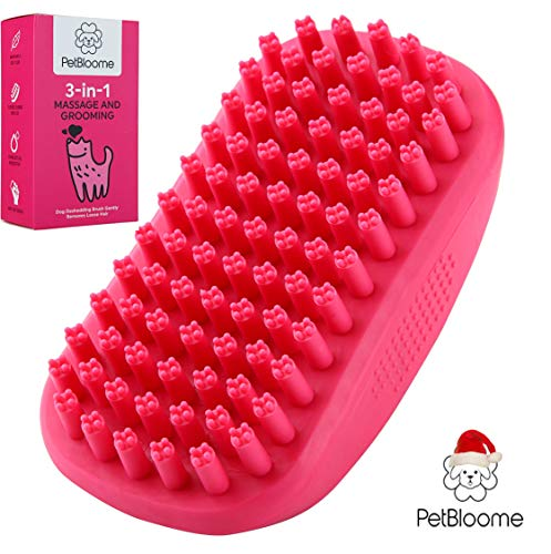 Dog Bath Brush, Grooming Brush and Massager for Pets – Dog Deshedding Brush Gently Removes Loose Hair – Shampoo Brush for Dogs – Best Dog Owner Gifts for Short, Medium and Long haired Dogs.
