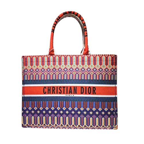 Womens Embroidered Dior Oblique Canvas Book Tote Bag