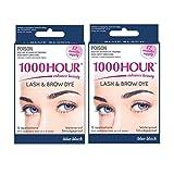 1000 lashes - Combo Pack! 1000 Hour Eyelash & Brow Dye / Tint Kit Permanent Mascara (Blue Black & Blue Black)