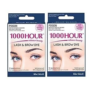 Combo Pack! 1000 Hour Eyelash & Brow Dye / Tint Kit Permanent Mascara (Blue Black & Blue Black)