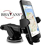 BHAVANS Premium Car Mobile Holder with Quick One Touch Technology for Dashboard and Windshield (4th Generation, Black)