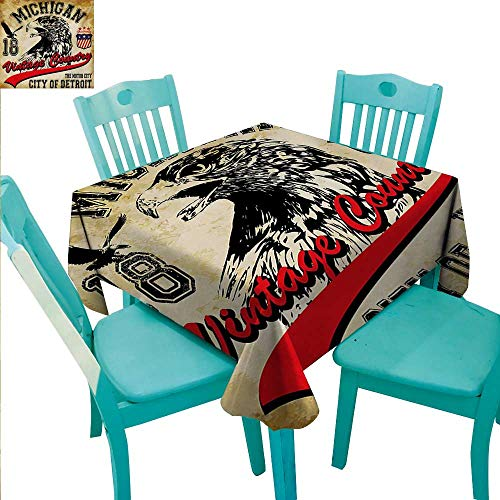 Eagle Square Polyester Tablecloth Hand Drawn City of Detroit Michigan Digital Art with a Portrait of an Eagle Washable Polyester - Great for Buffet Table, Parties, Holiday Dinner, Wedding & More 50