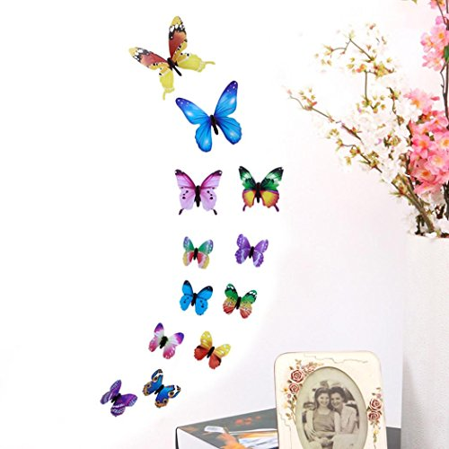 LiPing Wall Paper 3D 12 Pcs Butterfly Wall Stickers-Removable Decal Art Home Decor Painting Supplies Room Decor Kit-Kids Bedroom Decoration (Multicolor)
