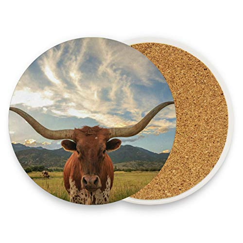 Texas Longhorn Steer Coasters, Protect Your Furniture From Stains,Coffee, Drink Coasters Funny Housewarming Gift,Round Cup Mat Pad For Home, Kitchen Or Bar 1 Piece