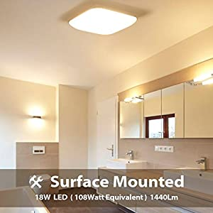 18W LED Ceiling Lights, LVWIT Ultra Slim 3000K Soft White Bright 1440Lm with High CRI 80Ra, Lampshade Square Lamp 30cm…