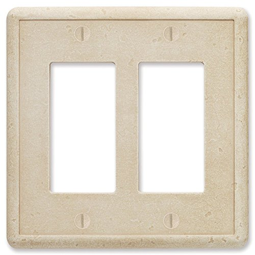 Questech Travertine Tumbled Textured Wall Plate/Switch Plate/Outlet Cover (Double Decorator GFCI)