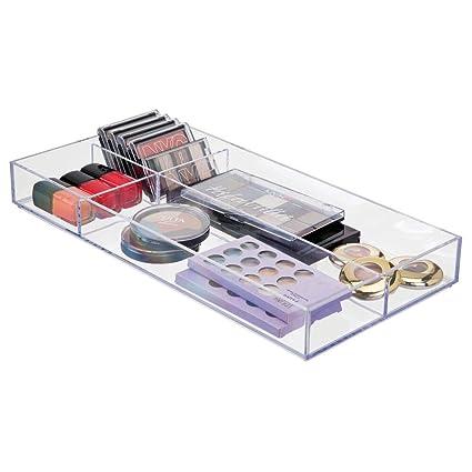 mDesign Plastic Divided Makeup Organizer for Bathroom Drawer, Vanity, Countertop - Storage Bin for
