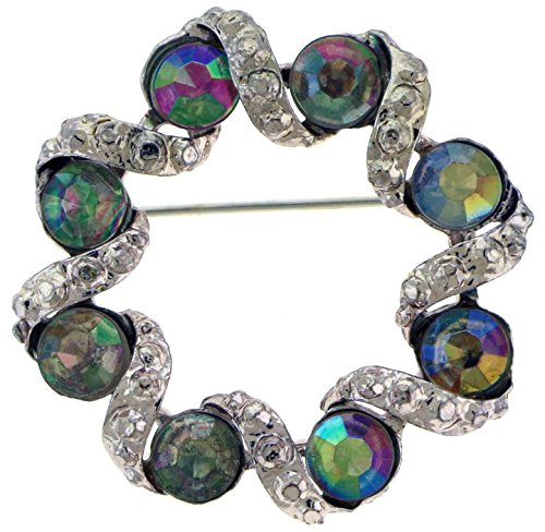 Circle Shaped Silver-Tone Brooch Pin With Rhinestone Accents TMP259